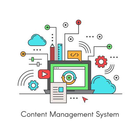벡터 아이콘 스타일 일러스트레이션 콘텐츠 관리 시스템 디지털 콘텐츠의 생성 및 수정을 지원하는 CMS 컴퓨터 응용 프로그램입니다. 랩톱, 클라우드 및 컨텐트로 디자인 스톡 콘텐츠 - 69115619