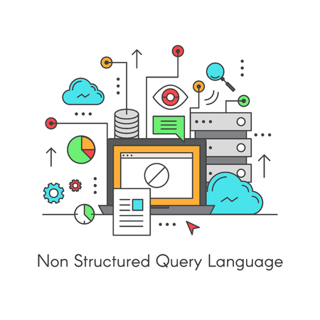 relational: Vector Icon Style Illustration Logo of NoSQL Non Relational Structured Query Language SQL