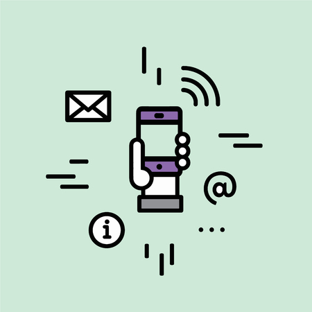 hotspot: Vector Icon Style Illustration of Public Hot-spot Zone Wireless Internet Wi-Fi Free. Connection and Interacting via Mobile Phone