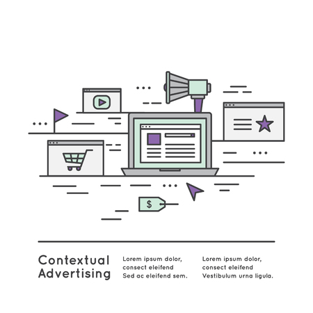 contextual: Vector Icon Style Illustration Contextual advertising as a form of targeted advertising for advertisements appearing on websites or mobile browsers Illustration