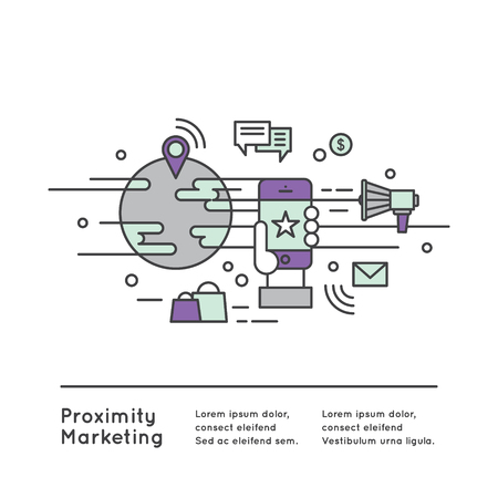 hotspot: Vector Icon Style Illustration Logo of Proximity Marketing, Public Hotspot Zone Wireless Internet Wi-Fi Free. Sending messages, information and offers to users, Mobile phone notifications, Simple modern vector icon style illustration