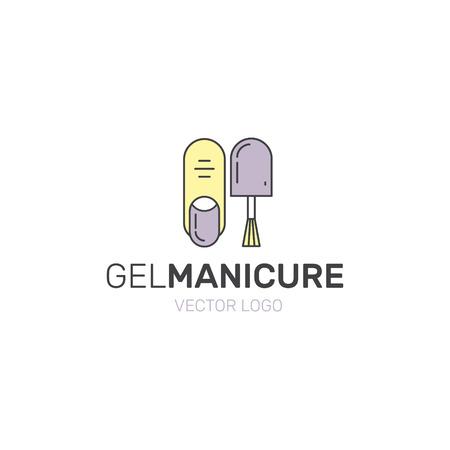 Vector Icon Illustratie van de Stijl Logo voor manicure of pedicure Winkel met Nail en vinger en Gel Polish