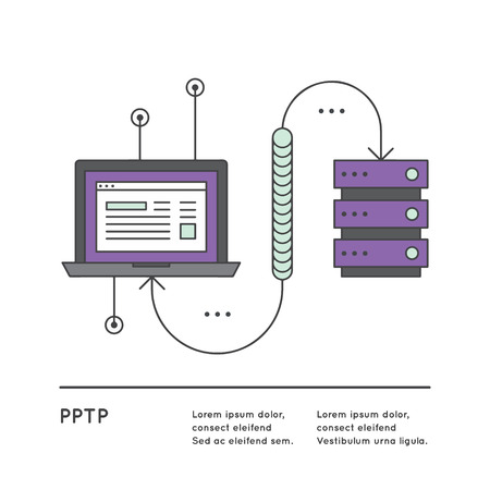 protocol: Vector Icon Style Illustration of Internet Protocol Security or IPsec Connection between Computer and Server using Security Gateway