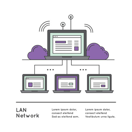 lan: Vector Icon Style Illustration of Local Area Network LAN with Network Equipment and Wide Area Network Interconnection Isolated Image