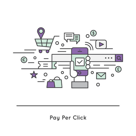 ppc: Vector Icon Style Illustration Logo of Pay-per-click PPC cost per click CPC  internet advertising model Illustration