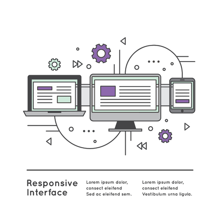 Vector Icon Style Illustration of Responsive User Interface Web Design Ilustração