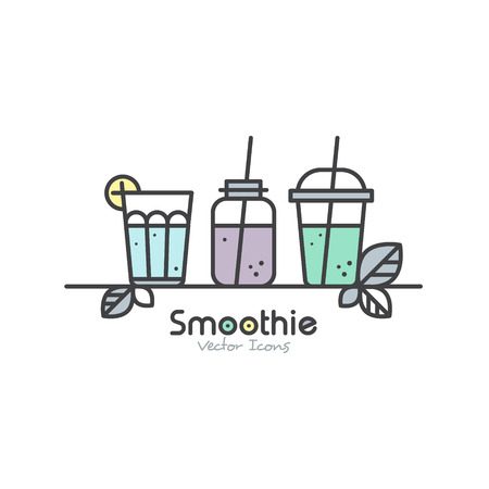 Vector Icon Style Illustration Set of Vegan or Vegetarian Smoothie Fruit Drink Detox with Leafs