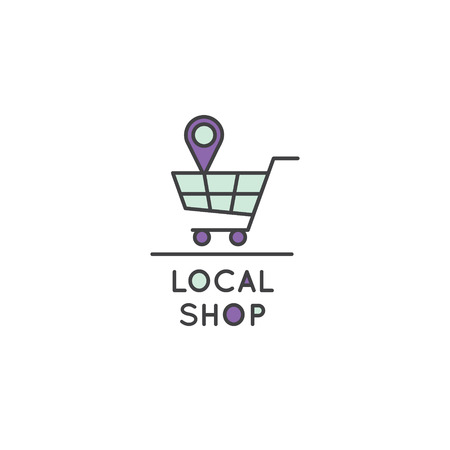 Vector Icon Style Illustration Logo of Local Store, Market, Supermarket, Grocery Shop with Shopping Bag and Geo Tag Illusztráció