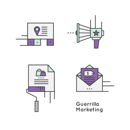 Vector Icon Style Illustration Logo Set of Guerrilla marketing advertisement strategy concept, businesses to promote products or services in an unconventional way with little budget