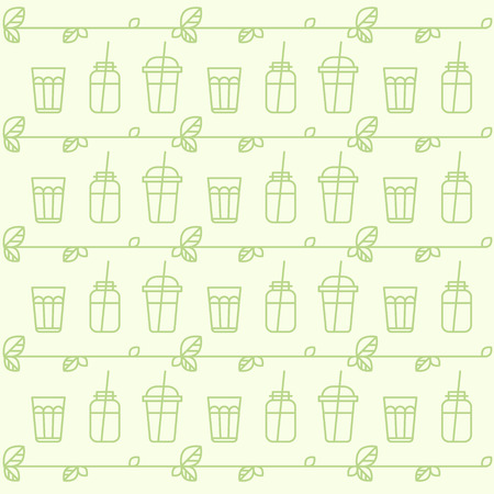 Vector Icon Style Illustration Pattern with Vegan or Vegetarian Smoothie Fruit Drink Detox with Leafs