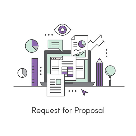 Vector Icon Style Illustration of Request for Proposal Concept