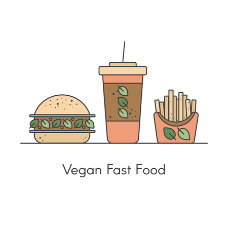 Vector Icon Style Illustration Set of Vegan Fast Food with Burger, Drink and Potato Fries