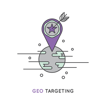 Vector Icon Style Illustration Logo of Target Audience Concept with Location Illusztráció