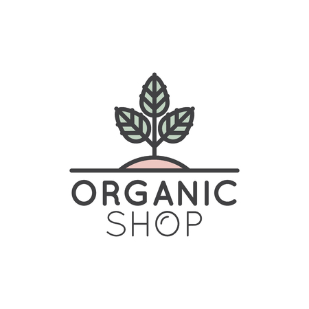 Vector Simple Icon Style Illustration Logo for Organic Shop or Market, Minimal Simple Badge with Leafs and Trees Illusztráció