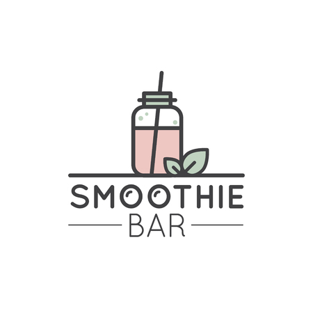 Vector Icon Style Illustration Logo for Vegan or Vegetarian Smoothie Fruit Drink Detox with Leafs