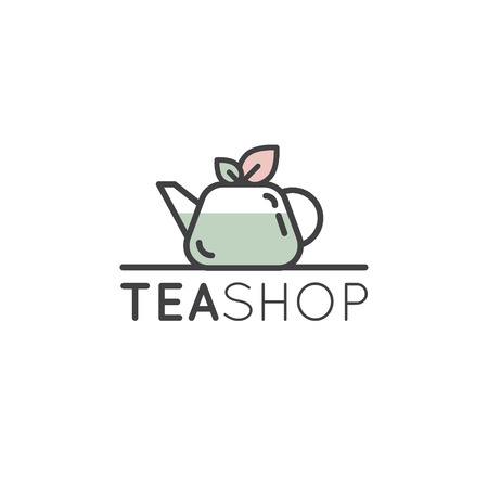 Vector Flat Icon Style Illustration Logo for Organic Green tea Shop for Healthy Lifestyle. Cup of Organic Green Tea and Fresh Green Leafs Illusztráció