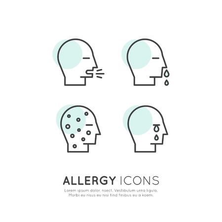 pustule: Vector Icon Style Illustration Logo Set Collection of Allergy, Food and Domestic Pet Intolerance, Skin Reaction, Eye and Nose Disease, Web Icons Isolated Collection Illustration