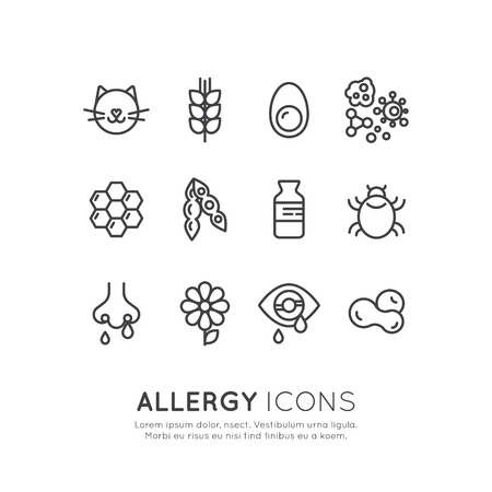 Vector Icon Style Illustration Logo Set Collection of Allergy, Food and Domestic Pet Intolerance, Skin Reaction, Eye and Nose Disease, Web Icons Isolated Collection Illusztráció