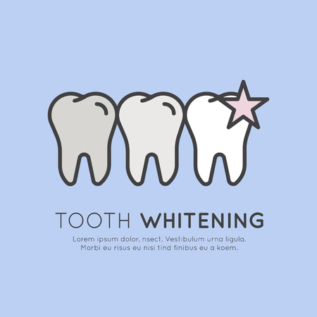 Isolated Vector Style Illustration Logo Badge or Dental Care and Whitening Process in Dental Clinic