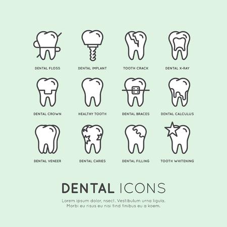分離ベクトル スタイル イラスト ロゴ設定バッジまたは歯科医療と病気、治療概念、歯治療矯正、パステル カラー