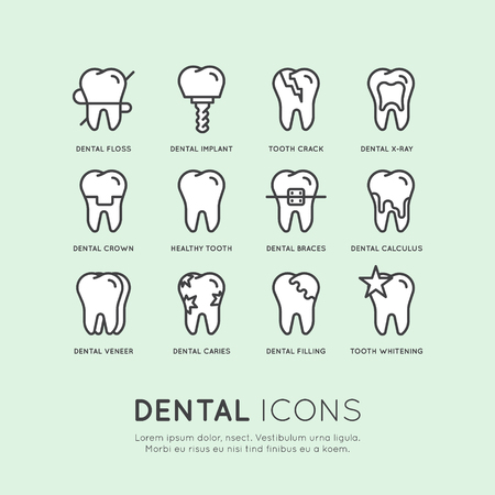 Isolated Vector Style Illustration Logo Set Badge or Dental Care and Disease, Treatment Concept, Tooth Cure Orthodontics, Pastel Colours