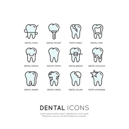 分離ベクトル イラスト設定バッジまたは歯科医療と病、歯治療矯正治療コンセプト  イラスト・ベクター素材
