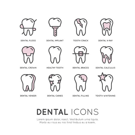 Isolated Vector Style Illustration Set Badge or Dental Care and Disease, Treatment Concept, Tooth Cure Orthodontics Illusztráció