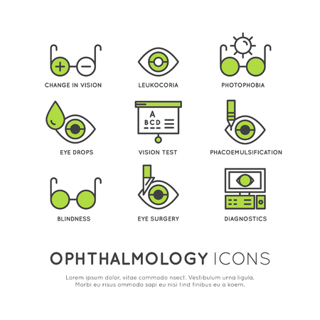 Vector Icon Style Illustration Set of Ophthalmology Healthcare, Medical Diagnosis, Human Vision Concept