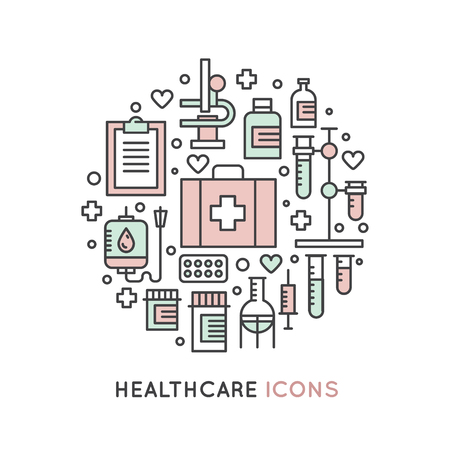 medical testing: Vector Icon Style Illustration Set of Medical and Healthcare Research  Items, MRI, Scan, Check-Up Forms, Blood Testing. Isolated Objects for Medical Poster