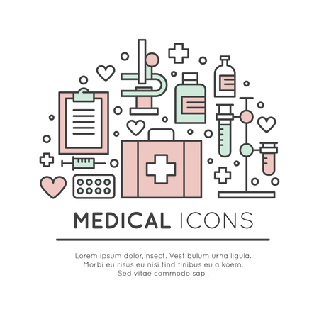 Vector Icon Style Illustration Set of Medical and Healthcare Research  Items, MRI, Scan, Check-Up Forms, Blood Testing. Isolated Objects for Medical Poster