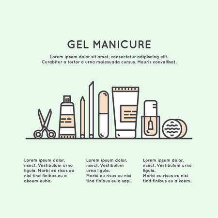 Vector Icon Style Illustration Concept One Page Web Site Template for Gel Manicure Pedicure Salon or Shop, Isolated Objects, Nail and Finger Supplies and Tools Illusztráció