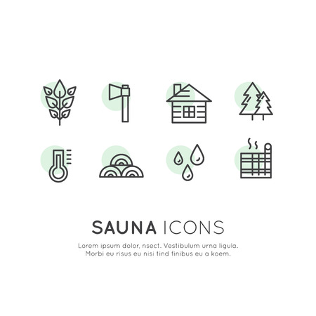 Vector Icon Style Illustration Logo Set for Web or Mobile. Sauna and Steam Hot House Village Emblems, National, Cottage House in the Forest