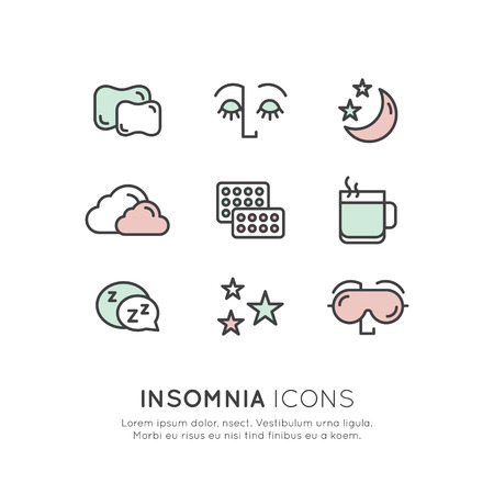 sleeper: Isolated Vector Style Illustration Logo Set Badge with Sleep problems and insomnia icons, treatment and pills, sleeping person with mask, hot drink, sllepy face
