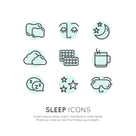 Isolated Vector Style Illustration Logo Set Badge with Sleep problems and insomnia icons, treatment and pills, sleeping person with mask, hot drink, sllepy face