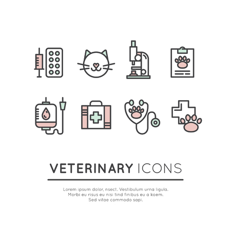 Vector Icon Style Illustration Set of Pet Veterinary Clinic Shop or Centre