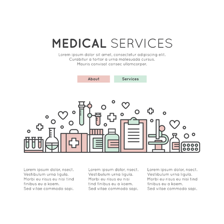 Vector Icon Style One page Web Design Template with Health Control Technology, Doctor App, Digital Medicine Healthcare. Flat Editable  Design Concept, Website Elements Layout