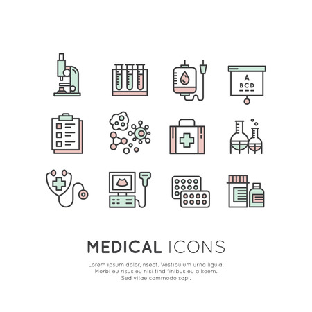 Vector Icon Style Logo Set of Medical diagnostic icons and objects. Medical icons made in line style. Healthcare research symbols. Medical symbols isolated set