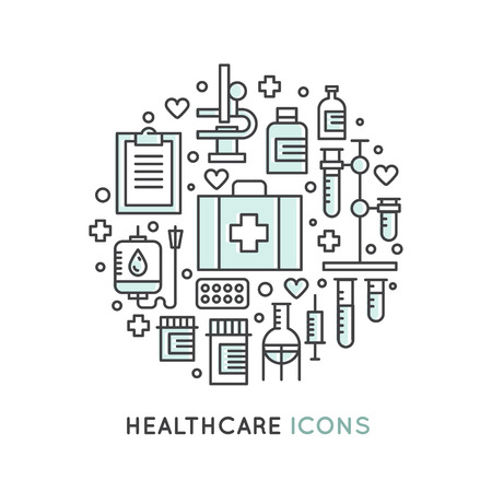 Vector Icon Style Illustration Set of Medical and Healthcare Research  Items, Insurance, MRI, Scan, Check-Up Forms, Blood Testing. Isolated Objects for Medical Poster Illusztráció
