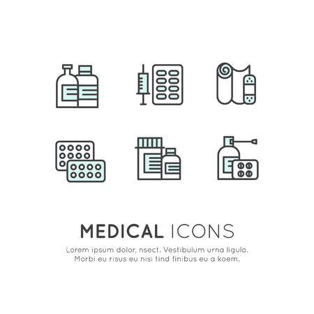 Vector Icon Style Illustration Logo Set Collection of Different Kinds of Medical, Cure, Treatment, Meds, Pills, Liquid Spray, Isolared Web Pictures Stock fotó - 71674396