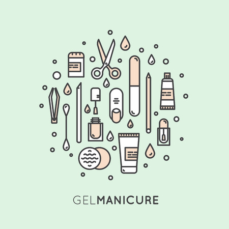 Vector Icon Style Illustration Concept for Gel Manicure Pedicure Salon or Shop Web Site Page, Isolated Objects, Nail and Finger Supplies and Tools Reklamní fotografie - 71674414