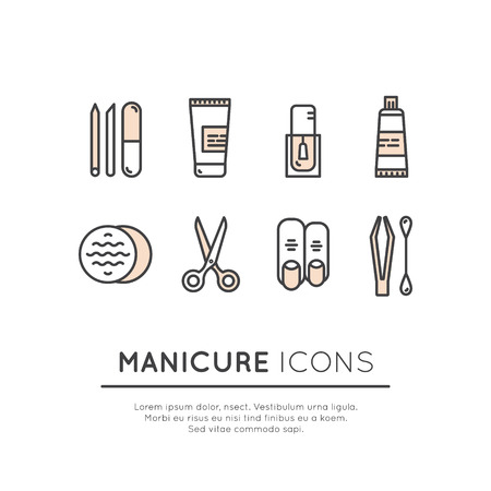 cuticle: Vector Icon Style Illustrationn Set for Gel Manicure Pedicure Salon or Shop Web Site Page, Isolated Objects, Nail and Finger Supplies and Tools