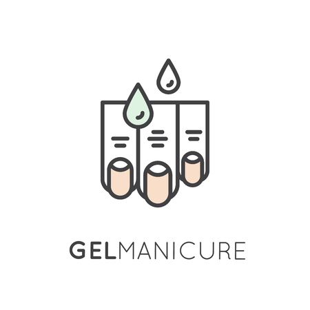 Vector Icon Style Illustration Logo for Manicure or Pedicure Shop with Nail and Finger and Gel Polish