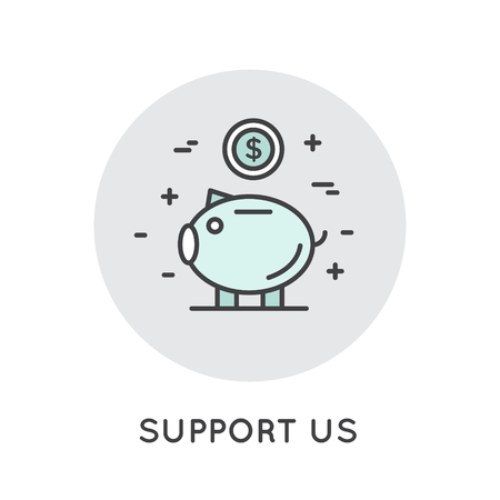 Icon Style Illustration Banner Template for Web Site with Donation Button and Support Slogan, Donate for Project and Developers, Send Money to Help.