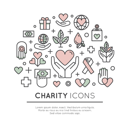 Vector Icon Style Illustration Set of Graphic Elements for Nonprofit Organizations and Donation Centre. Fundraising Symbols, Crowdfunding Project Label, Charity Logo Illusztráció