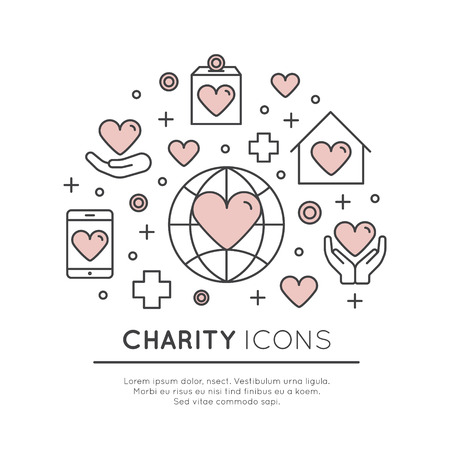Vector Icon Style Illustration Set of Graphic Elements for Nonprofit Organizations and Donation Centre. Fundraising Symbols, Crowdfunding Project Label, Charity Logo Stock fotó - 72445742