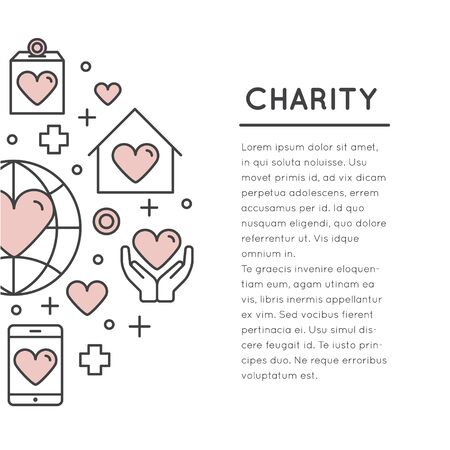 Vector Icon Style Illustration Card or Poster Template with Charity and Fundraising Objects. Volunteer Poster. Funsraising Event Broshure Template. Stock fotó - 72363316