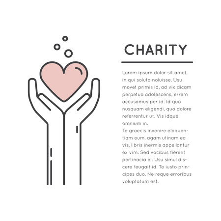 Vector Icon Style Illustration Card or Poster Template with Charity and Fundraising Objects. Volunteer Poster. Funsraising Event Broshure Template. Illusztráció