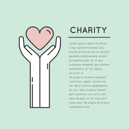 Vector Icon Style Illustration Card or Poster Template with Charity and Fundraising Objects. Volunteer Poster. Funsraising Event Brochure Template.