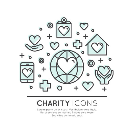 Icon Style Illustration Set of Graphic Elements for Nonprofit Organizations and Donation Centre. Fundraising Symbols, Crowdfunding Project Label, Charity Logo.