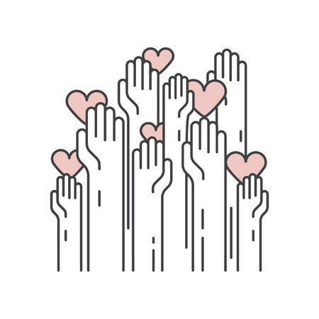 Vector Icon Style Illustration Background Card or Poster Template with Charity and Fundraising Objects. Volunteer Poster. Funsdraising Event Brochure Template. Hand helping heart